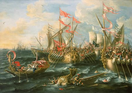 Battle of Actium between Augustus' forces and Antony and Cleopatra's forces