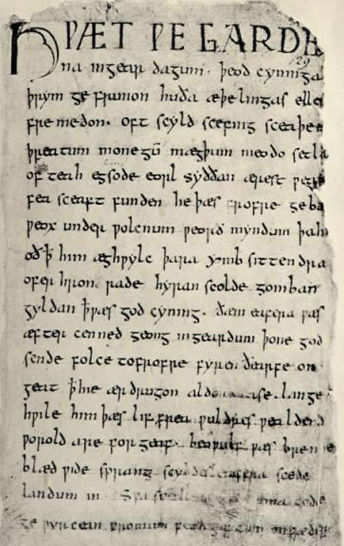 The first page of Beowulf