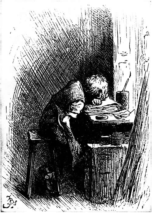Dickens as a young boy at the blacking factory.