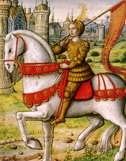 Joan of Arc depicted on horseback in an illustration from a 1505 manuscript