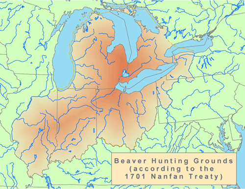 Beaver Hunting Grounds according to the 1701 Nanfan Treaty