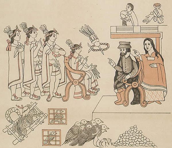 Cortes and La Malinche meet Montezuma