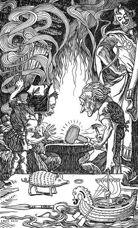 Sindri creates Thor's hammer Mjölnir