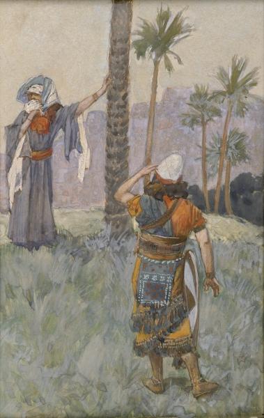 Israelite Judge and Prophetess Deborah rendering judgment under a palm tree