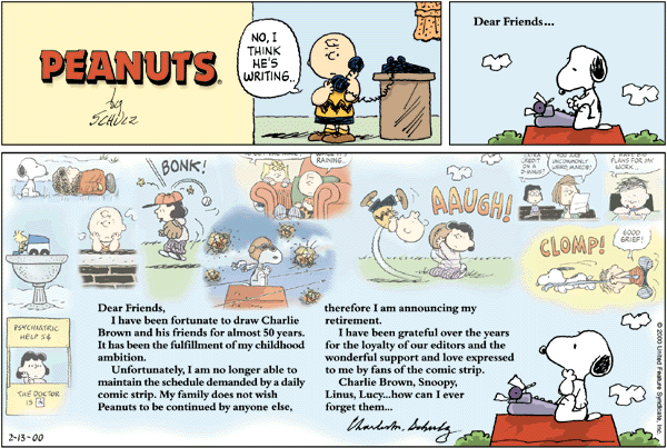 Last Peanuts Comic Strip
